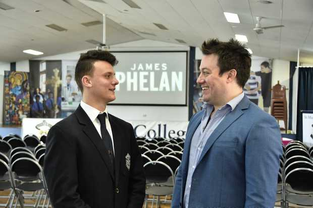 St Mary's College Year 12 student, Tristan Bazant, 17, (left) has ambitions of becoming an author chats with James Phelan who is conducting workshops at St Mary's College. July 2017