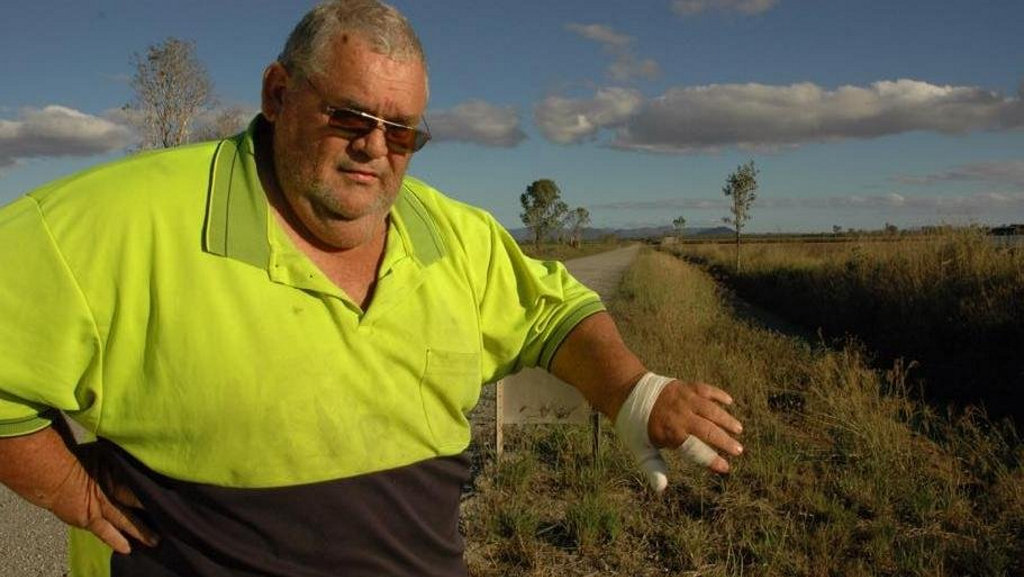 Cane worker Daryl Bell was attacked by a 1.4m long saltwater crocodile at a cane farm along Peters Rd, Mareeba.