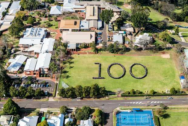 FROM ABOVE: Past and present students and staff at Fairholme College form a 100 to celebrate 100 years.