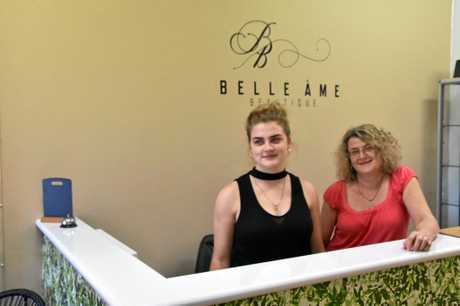 Bronti Hayward and Karen Coughran at the new reception desk for Belle ame Beautique.