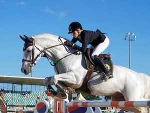 TALENTED LEAP: Rider Katie McVean takes off on  on Dustan Casebook