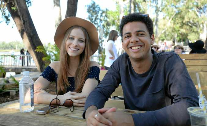 Rebecca Devlin and Upile Mkoka relaxing at the River Festival.
