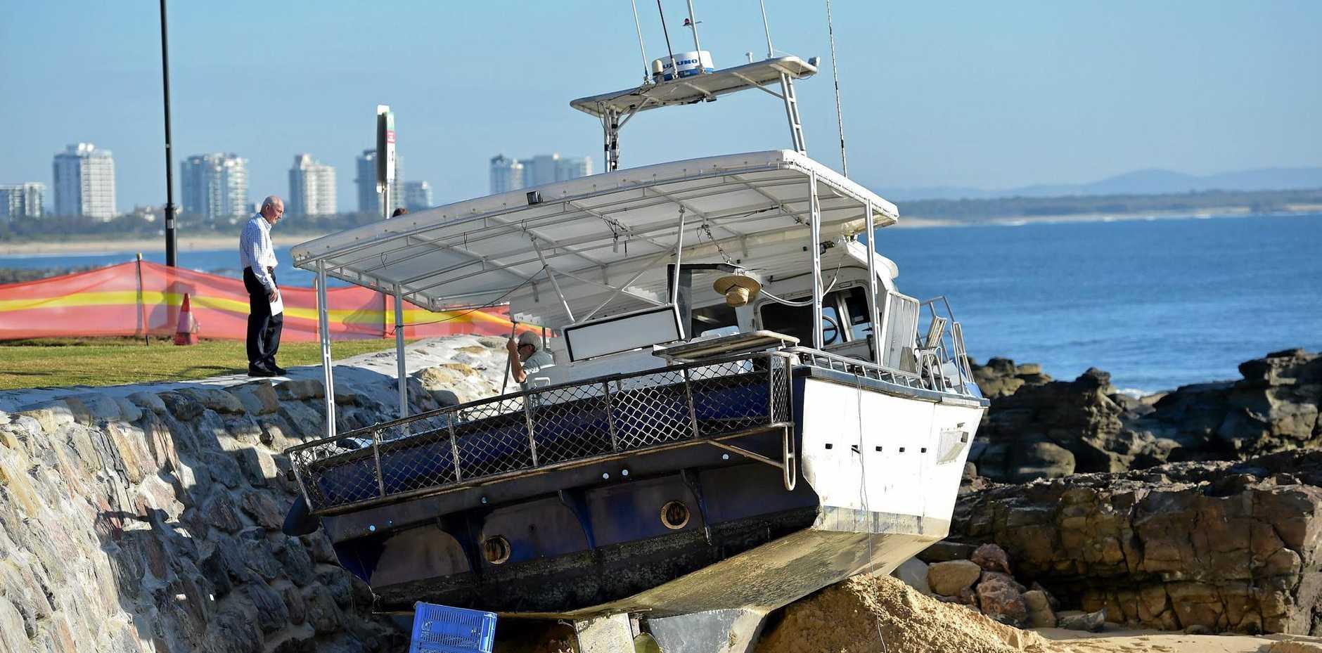 The Matahari fishing boat makes an unscheduled landing on Mooloolaba Beach.
