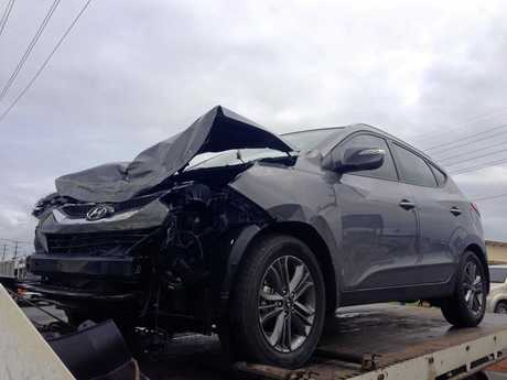 A Hyundai SUV after being involved in a road traffic crash on the corners of Victoria Street and Tennyson Street in Mackay.