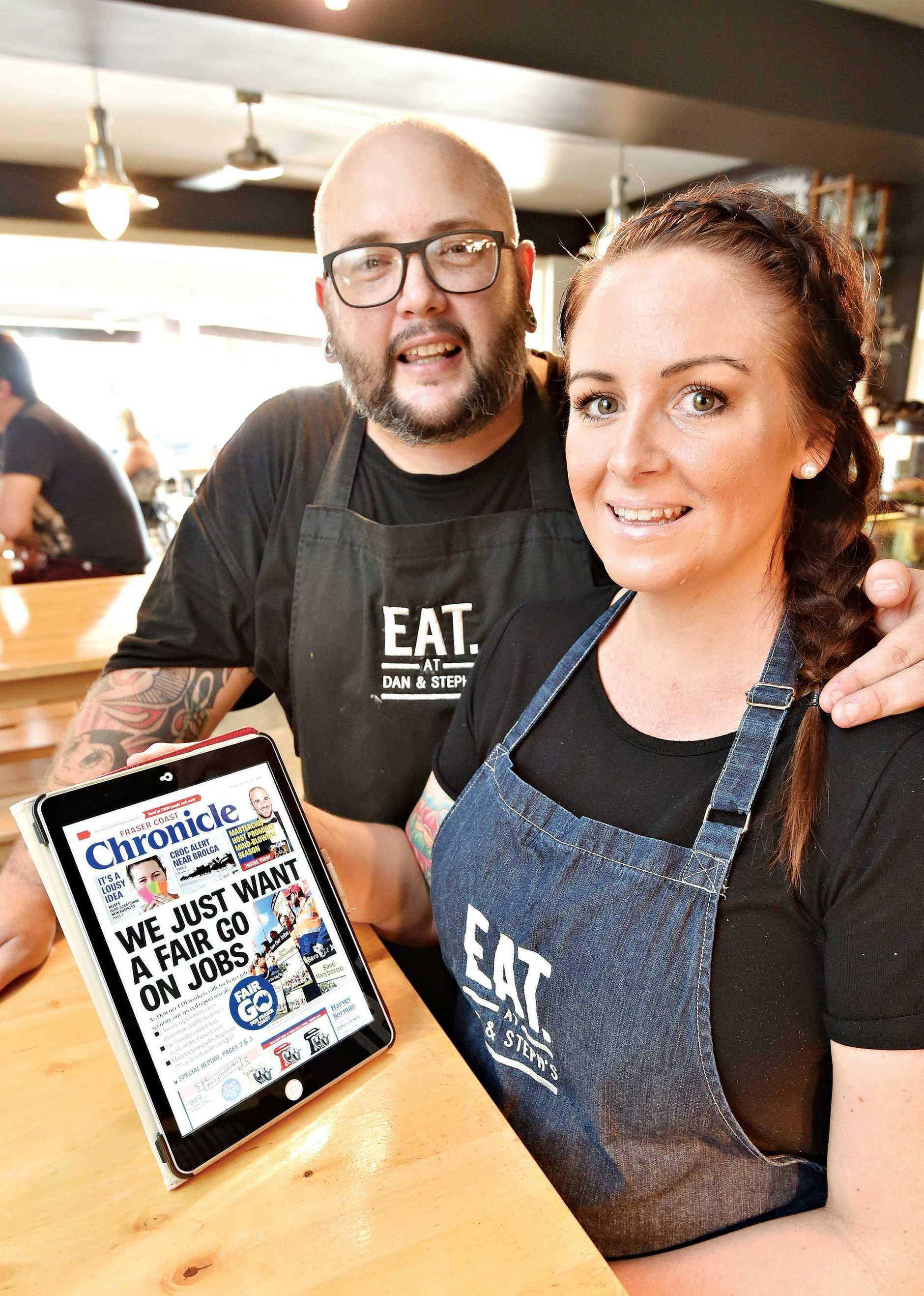 Fraser Coast Chronicle digital subscription - Dan and Steph Mulheron from Eat at Dan & Steph's. Photo: Alistair Brightman / Fraser Coast Chronicle