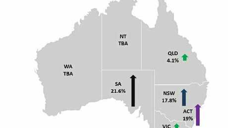 Map of the rise in electricity prices around the state.