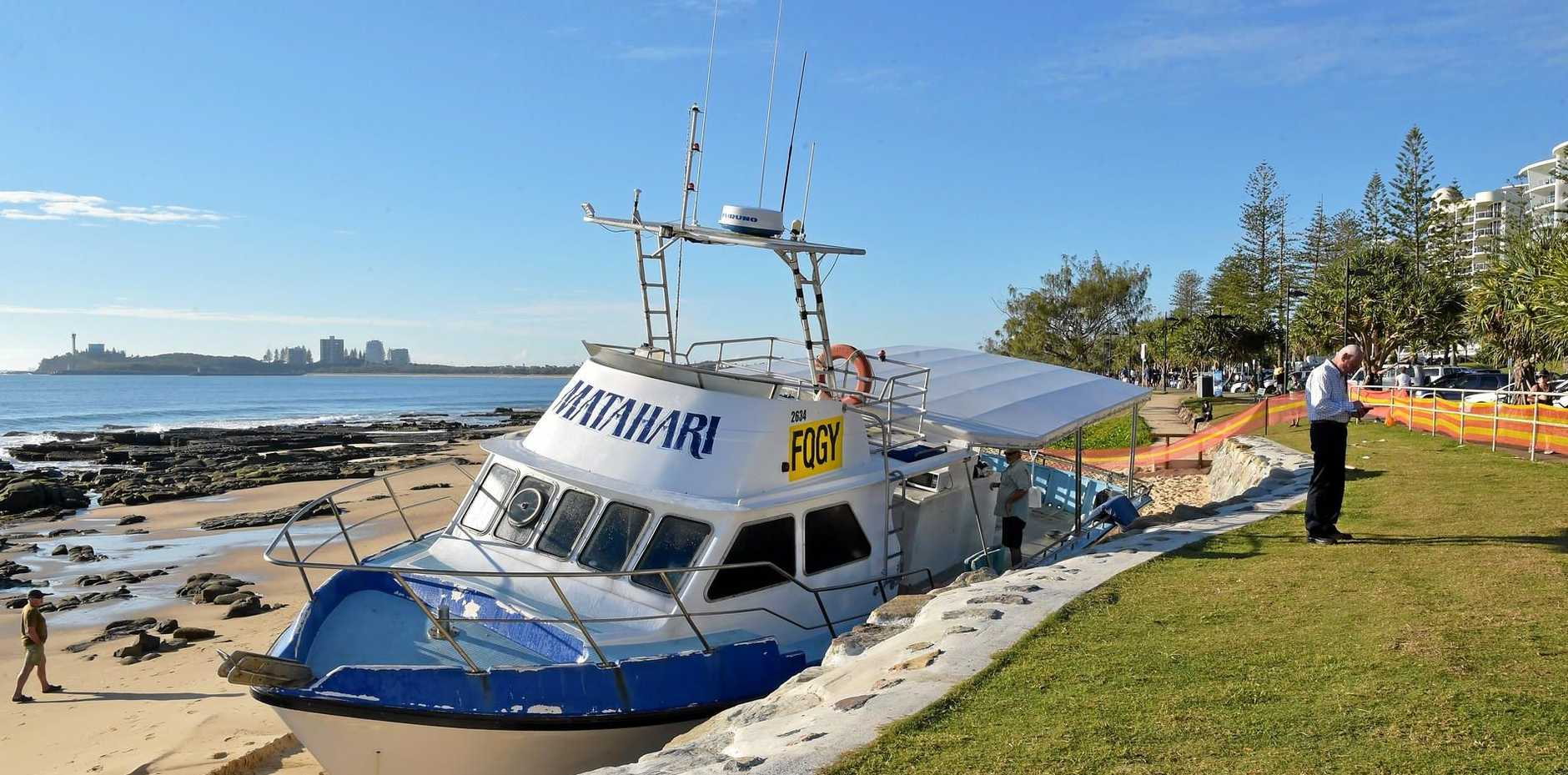 The Matahari fishing boat makes an unscheduled landing on Mooloolaba Beach.