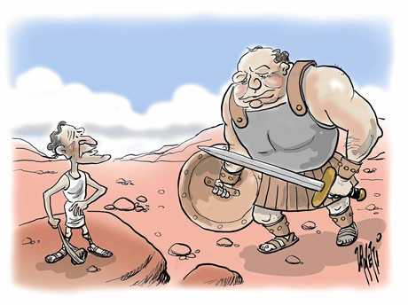 HISTORY: This was how cartoonist Zanetti saw the battle between Paul Pisasale and Peter Luxton in previous years. Mr Luxton says the 2017 race is a different story without