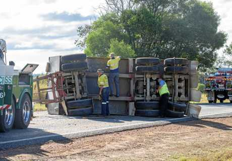 A truck flipped when its trailer left the road near Koolkhan on the Summerland Way.
