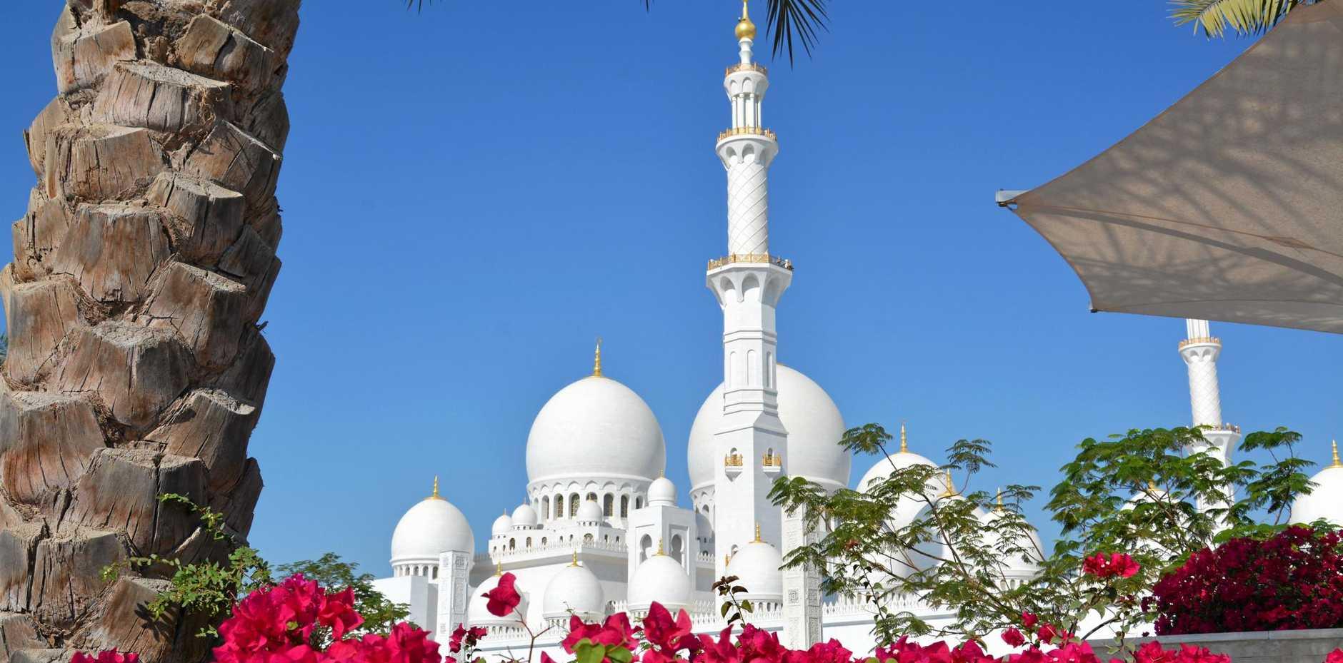 Sheikh Zayed Grand Mosque  in Abu Dhabi in the United Arab Emirates.