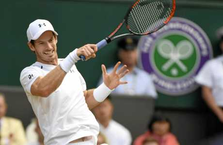 Andy Murray hits a forehand during his quarter-final match against Sam Querrey. Roger Federer's Wimbledon victory sees him leapfrog Novak Djokovic and Stan Wawrinka into third on the international rankings making him a realistic chance to claim the No. 1 spot over Murray.