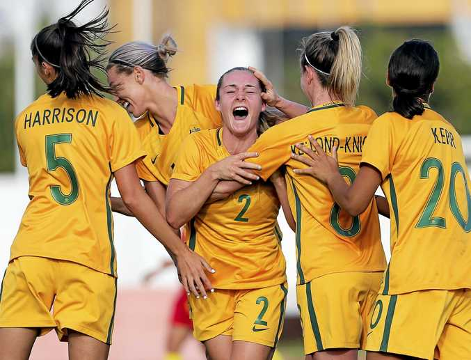 TOP STRIKE: Australia's Ellie Carpenter celebrates with her teammates after scoring a goal in her side's Algarve Cup game with China earlier this year.