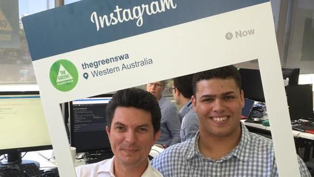 Jordon Steele-John, on the campaign trail with Senator Scott Ludlam, never expected to replace him.