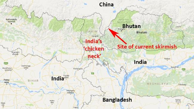 "India is concerned by any Chinese move to consolidate its control in area close to the ""chicken neck"" — a thin strip of land that is the only direct route to the country's north east."
