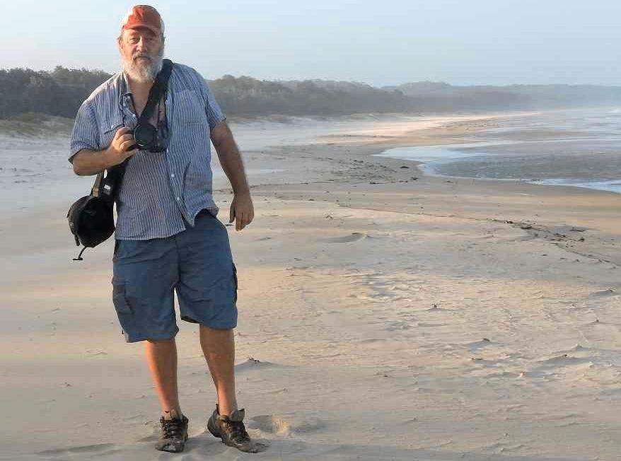 POET LAUREATE OF COFF HARBOUR John Bennett on the beach at Valla.