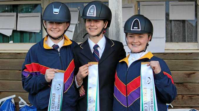 RIDING RIBBONS: The Glennie School riders Sarah-Jane Coggan, Jessica Black and Holly Wilkie.