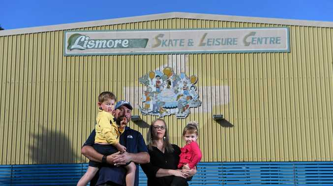 The Lismore Skating and Putt Putt owners Craig and Belinda Newby, with children Lacey, 4, and Matthew, 6, are restarting the iconic venue after it was devastated in the recent floods.