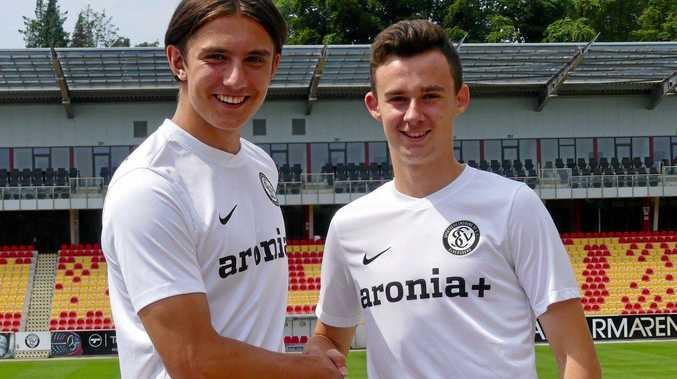 AUF WIEDERSEHEN: Noah Jachmann (left) and Jackson Courtney-Perkins in their new SV Elversberg club kits.