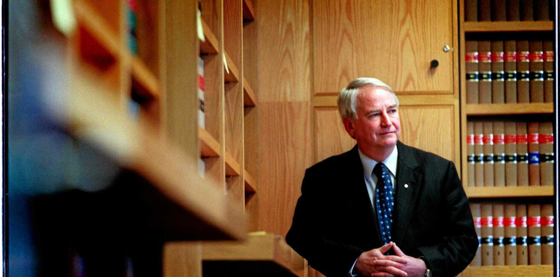 REFLECTING:  Justice Tony Fitzgerald in his Brisbane chambers in 1998, prior to taking his position on NSW Supreme Court bench.