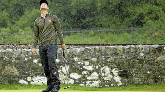 LUCK NEEDED: Adam Scott shows his frustration at last year's British Open at Royal Troon.