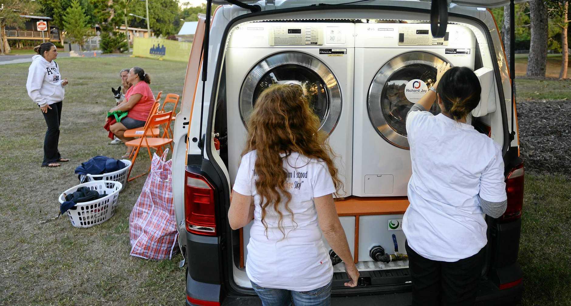 Orange Sky laundry van in Ipswich.
