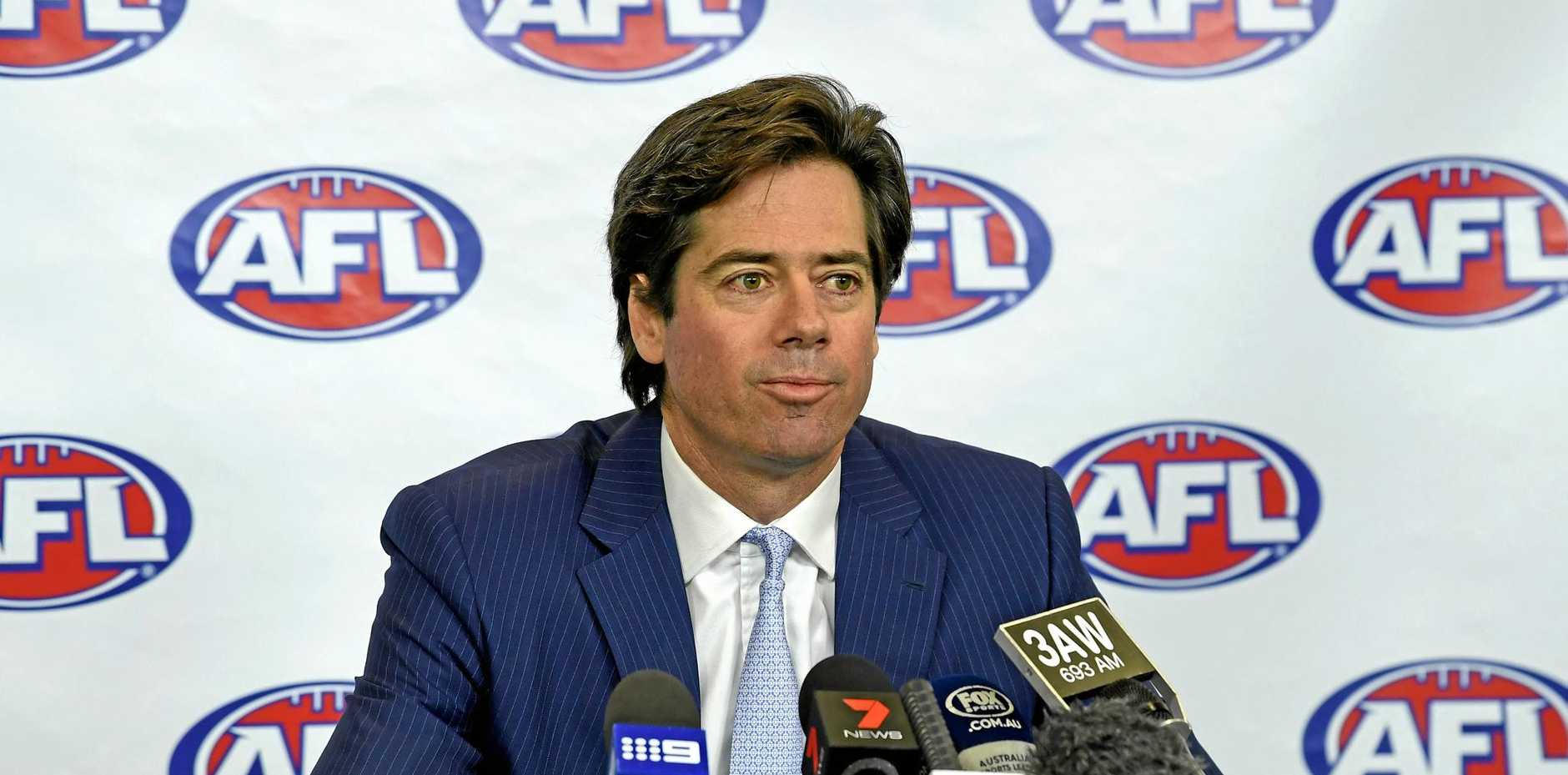 AFL chief executive Gillon McLachlan speaks during a press conference on the resignations of high-ranking executives Simon Lethlean and Richard Simkiss.
