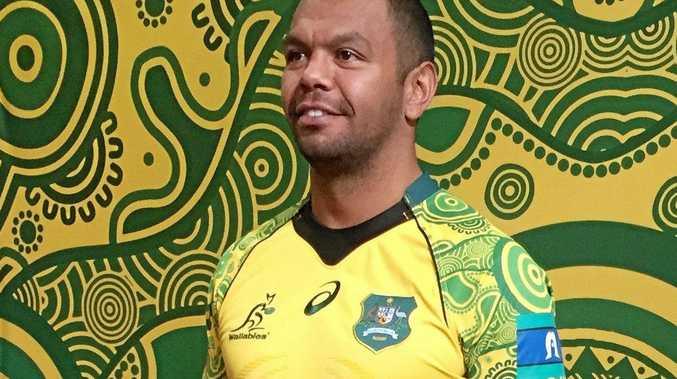 Kurtley Beale in the Indigenous jersey the Wallabies will wear in the final Bledisloe Cup Test in Brisbane.