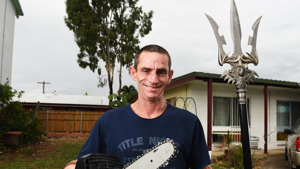Heatley resident Johnny Smith claims to have chased two robbers away with his chainsaw and trident. Picture: Zak Simmonds