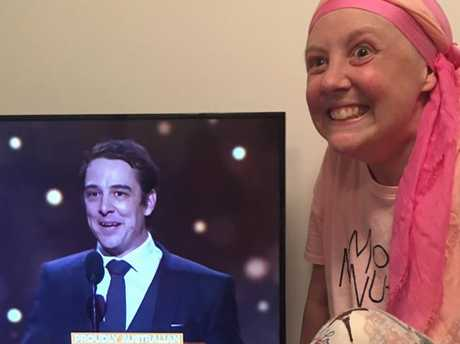 Samuel Johnson sister Connie watching brother Sam take out the Gold Logie this year. Supplied: Love Your Sister/ Facebook. Source: Supplied