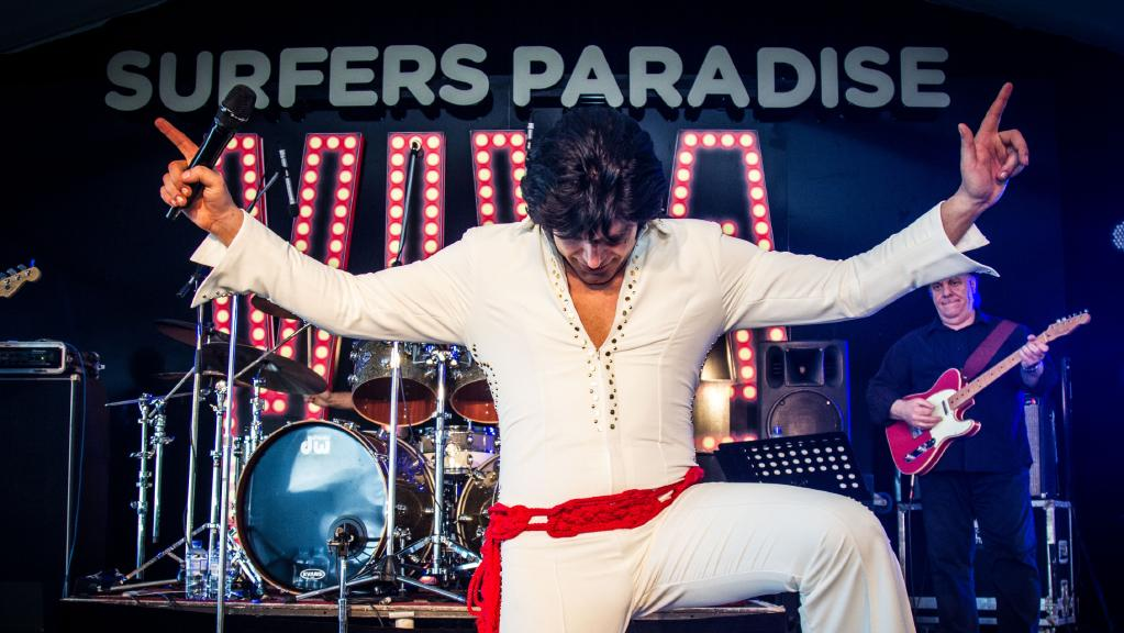 Nic Nicolas performing and winning the Ultimate Elvis Tribute Artist Contest at VIVA on Sunday.