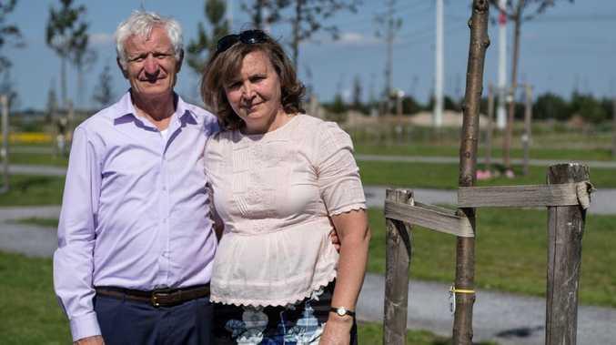 Serge and Vera Oreshkin, whose son Victor Oreshkin, 29, was killed, at his tree at the new MH17 memorial Vijfhuizen, Holland.