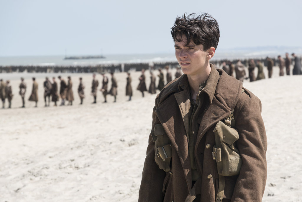 Fionn Whitehead in a scene from the movie Dunkirk.