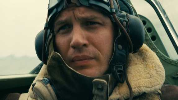 Tom Hardy in a scene from the movie Dunkirk.