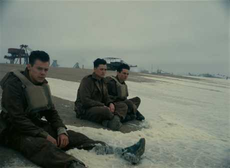 Harry Styles, Aneurin Barbard and Fionn Whitehead in a scene from the movie Dunkirk.