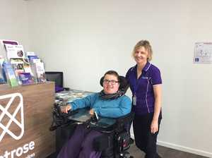 FIRST IN: Toowoomba's Jeffrey Morrish, who has Duchenne Muscular Dystropy, was the first client through the doors of Montrose's first permanent store in the Garden City.