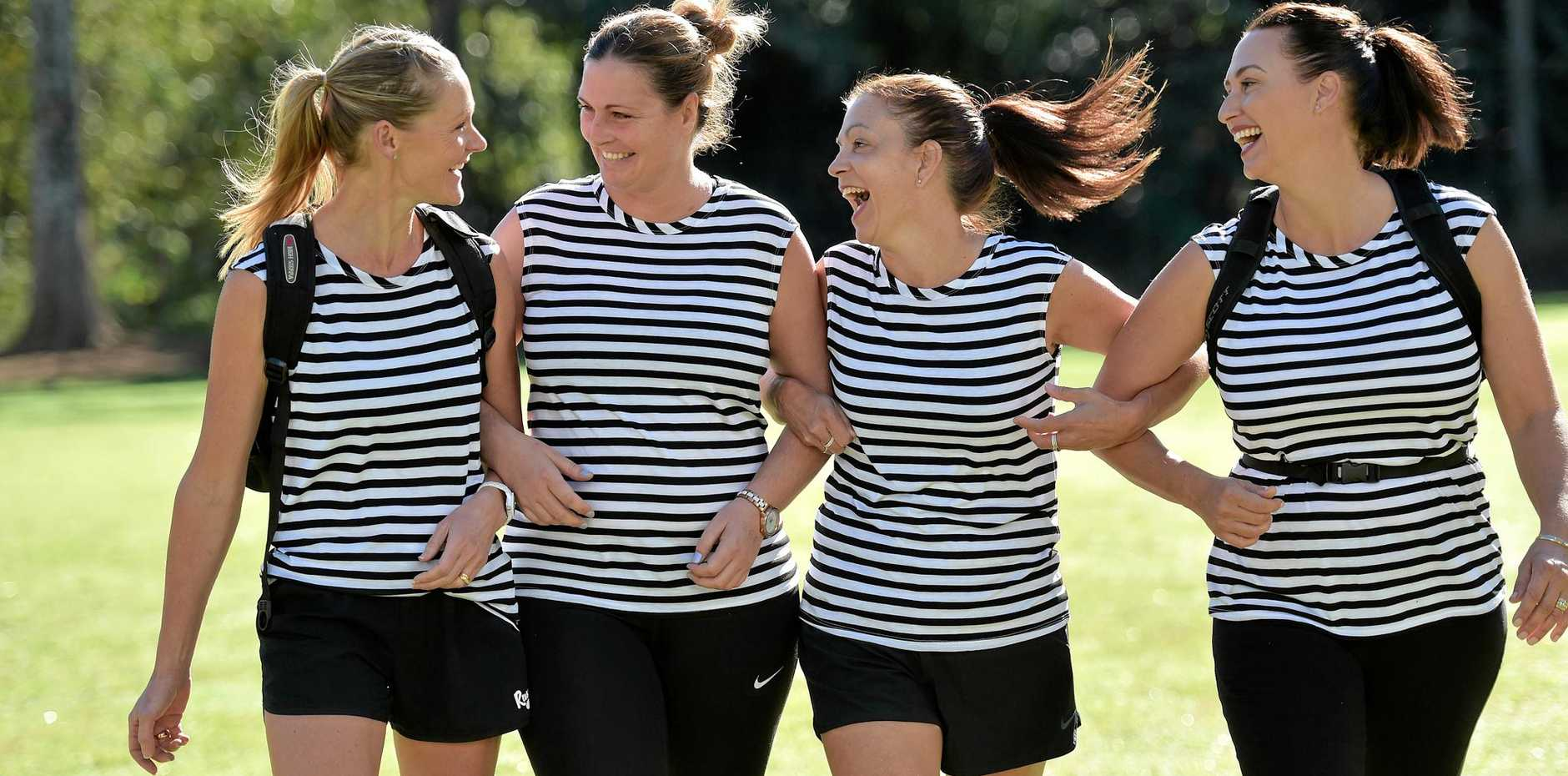 HOLY FIT: Sarah Busch, Crystal Cook, Maree Hooper and Simone Merlo ready for the 30km charity walk to raise money for the Fred Hollows Foundation.