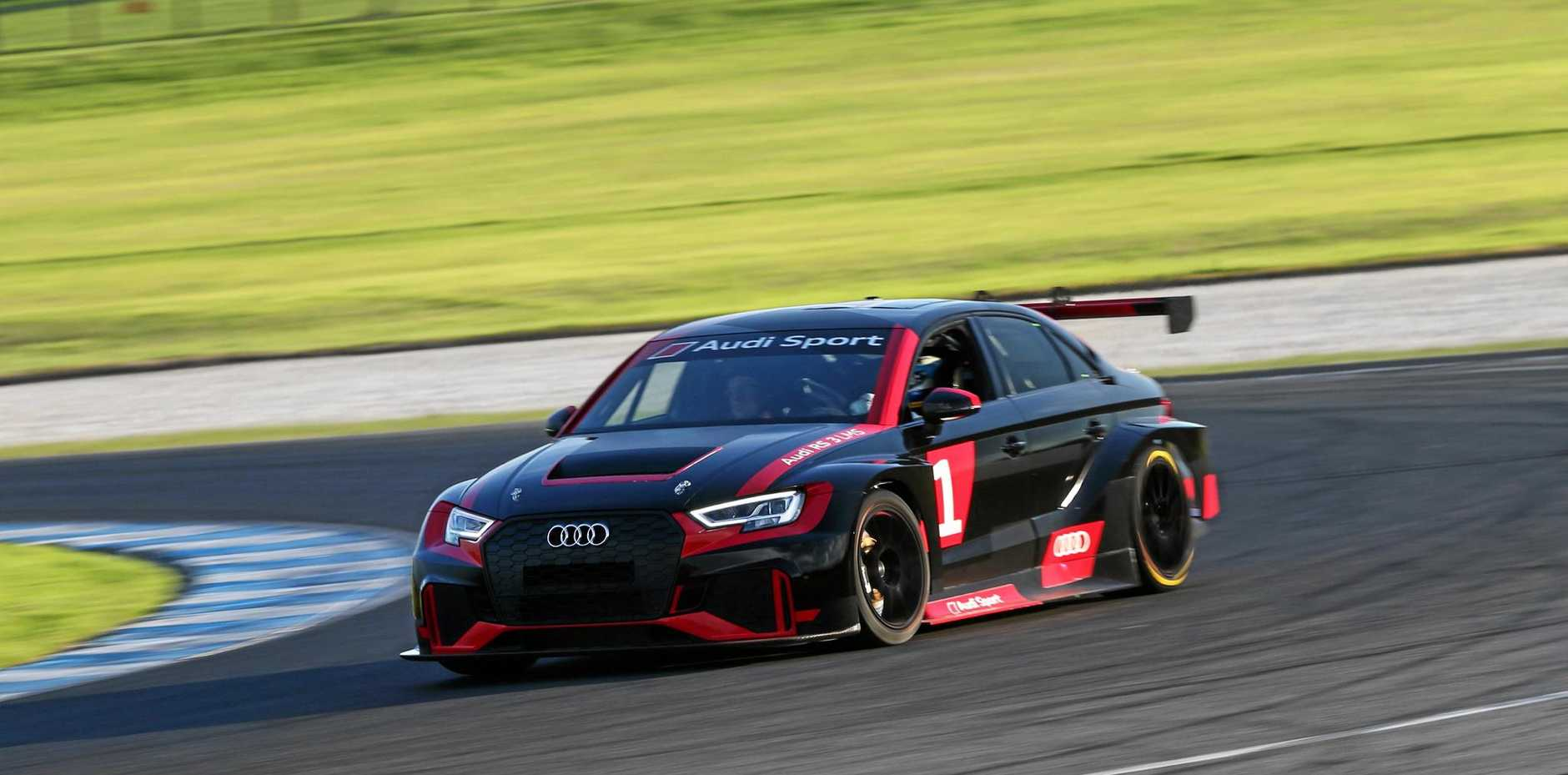 The $200,000 Audi RS 3 LMS race car uses a 2.0-litre four-cylinder turbo engine and sequential six-speed transmission but lacks driver aids such as ABS brakes or traction control.