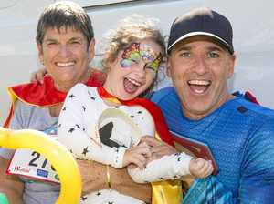 SUPER EFFORT: Margaret Ross, son Stephen Cromarty and granddaughter Summah. Margaret is delighted to' give back' through the Superhero Stride after she was airlifted by the Westpac Rescue Helicopter Service following a serious car accident in 1990.
