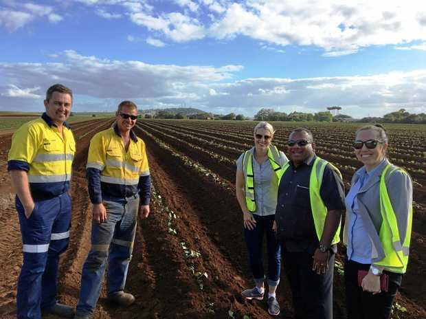 Greensill Farming Group's Damien Botha and Tony Sandwell, BFVG's Bree Grima, Minister Inia Seruiratu and DFAT's Casey Beath.