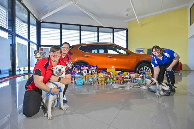 HUNGRY TUMMIES: Shannon Holzheimer, Shadow, Caroline Dickenson and Donna Zimmerlie, Raiden from Gladstone Nissan have donated food to the RSPCA.