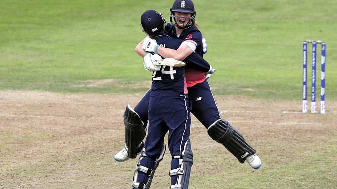 England's Anya Shrubsole celebrates with teammate Jenny Gunn after hitting the winning runs in the Women's World Cup semi-final against South Africa.