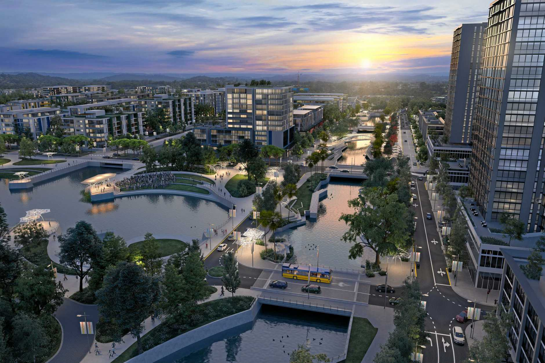 Artist impression of the Corso West at SunCentral, Maroochydore.