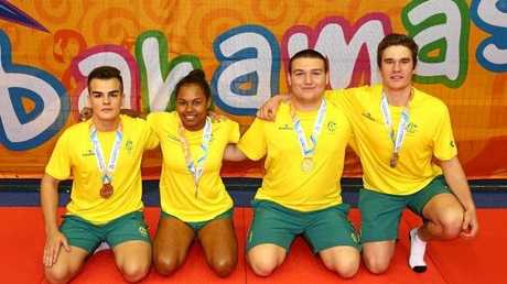Medal winners from Australia including Francis Newman and Uros Nikolic pose with their medals on the opening day of the 2017 Commonwealth Youth Games.