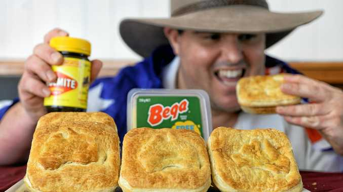 MY PIE: Old Fervale Bakery baker Bradley Gordon with the original Vegemite and cheese pie.