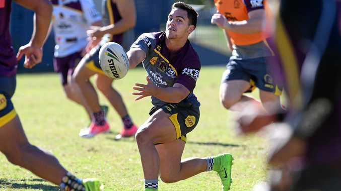 Kodi Nikorima (centre) chimes in from fullback during Brisbane's training on Wednesday.