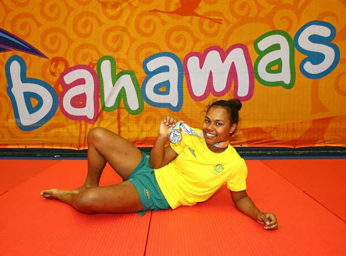 Francis Newman poses with her silver medal after the girls -70kg judo final on the opening day of competition at the 2017 Youth Commonwealth Games.