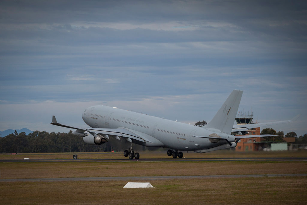 RAAF KC-30A Multi Role Tanker Transport aircraft takes off from RAAF Amberley during Exercise Talisman Saber 17.