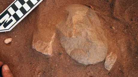 An edge-ground hatchet head being excavated at the Madjedbebe rock shelter in the Kakadu National Park in the Northern Territory. New proof has been found showing Aboriginal people lived in Australia up to 18,000 years earlier than once thought