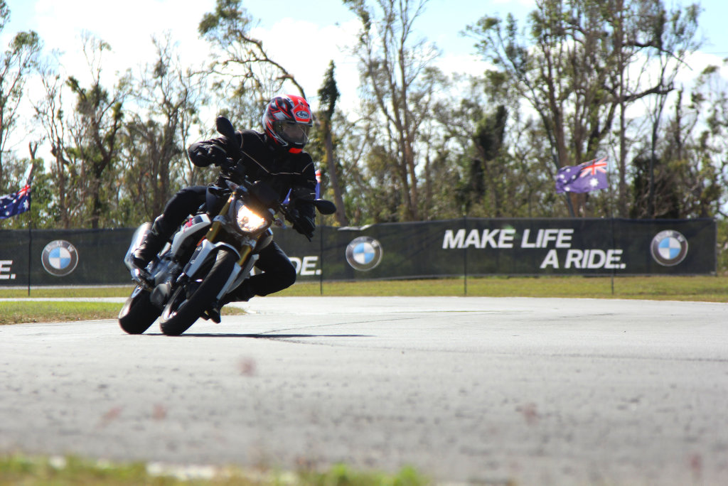 The new BMW G310R in action at the Gunyarra race track near Proserpine on Tuesday.