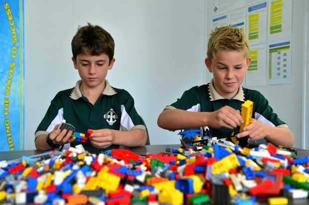 OODLES OF LEGO FUN: Currimundi Primary School students Lachlan Riegels and Zac Tighe trying their hand at lego building for the upcoming Great Fete.
